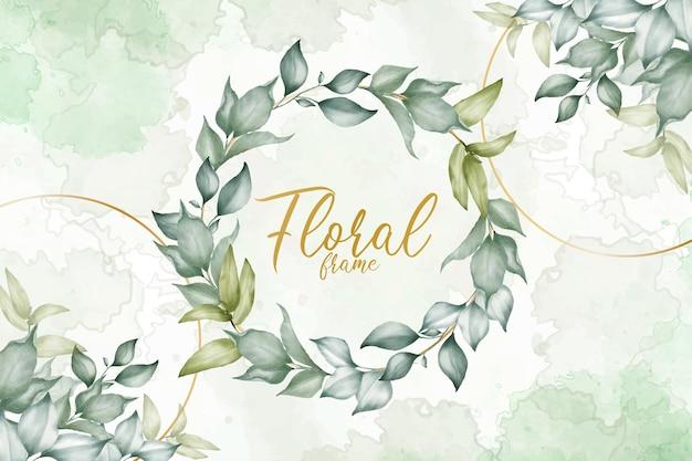 수채화 스플래시와 단풍 녹지 꽃 배열 배경 템플릿