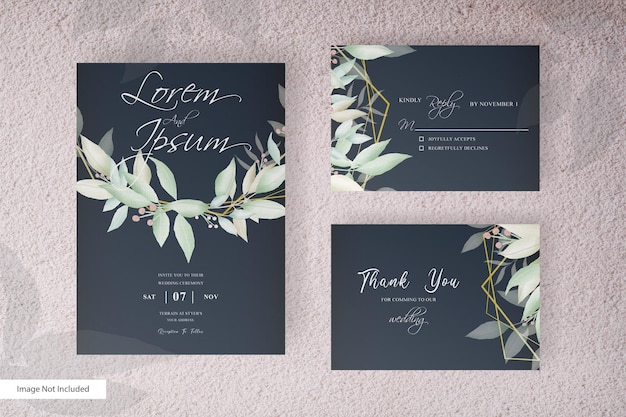 Greenery floral arrangement wedding invitation template