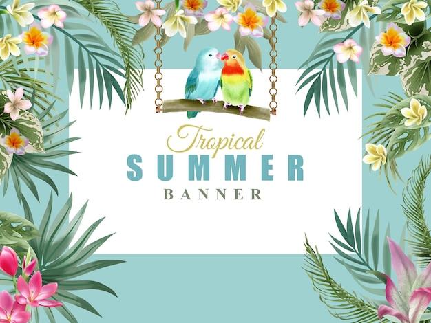 Зелень цветочные тропические летом баннер