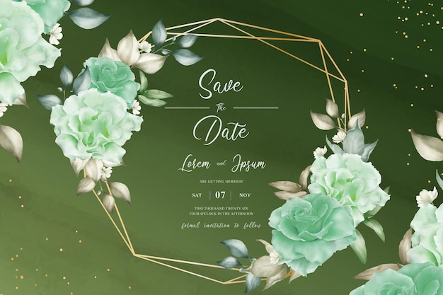 Greenery floral wedding card