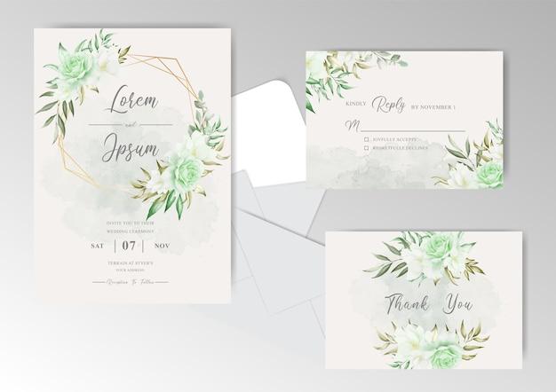 幾何学的なフレームと水彩画と緑の花の結婚式の招待カード