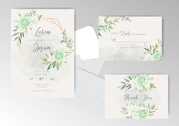 Greenery floral wedding invitation card with geometric frame and watercolor