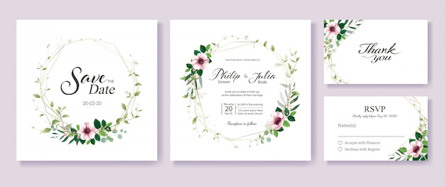 Greenery and floral wedding invitation template.