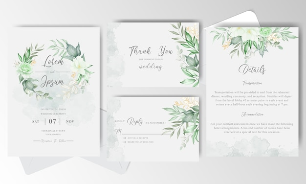 Greenery floral wreath wedding invitation card with watercolor