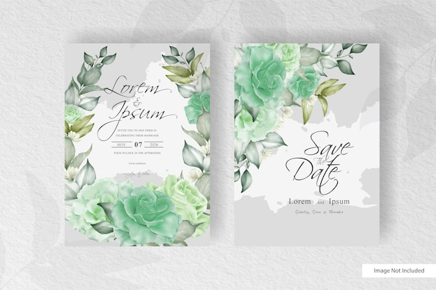 Greenery floral wreath wedding invitation template