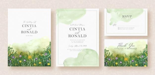 緑の花と庭の水彩画の背景の結婚式の招待状の葉