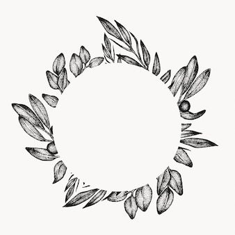 Greenery foliage leaf frame, graphic design element, isolated circle, floral botanical border. tropical composition.