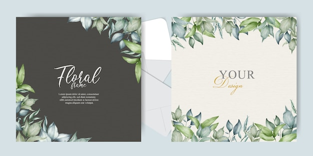 Greenery frame wedding invitation card template