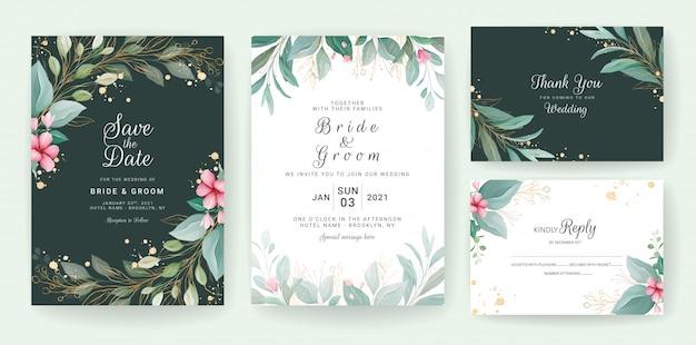 緑の金の花カード。日付、挨拶、ポスター、カバーデザインを保存するための花とキラキラの装飾が施された結婚式の招待状のテンプレート