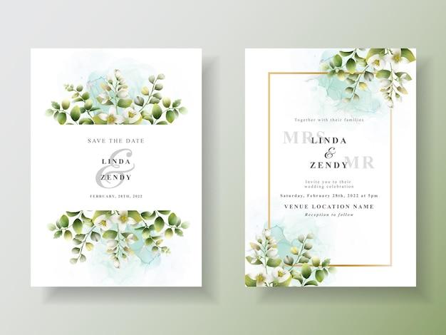 Шаблон приглашения на свадьбу с зелеными листьями