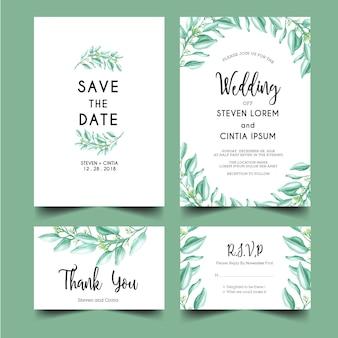 Greenery leaf wedding invitation set