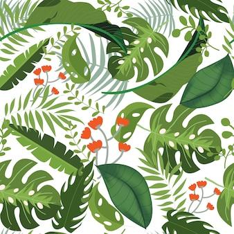 Greenery leaves seamless pattern