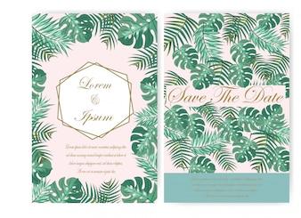緑の葉ウェディングカードとタグ