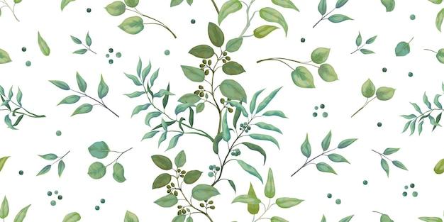 緑のパターン。ユーカリのシームレスな葉と枝。