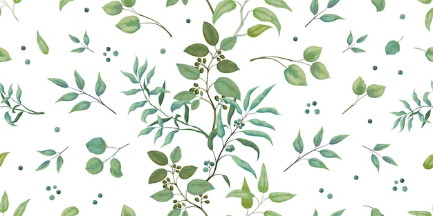 Greenery pattern. eucalyptus seamless leaves and branches.