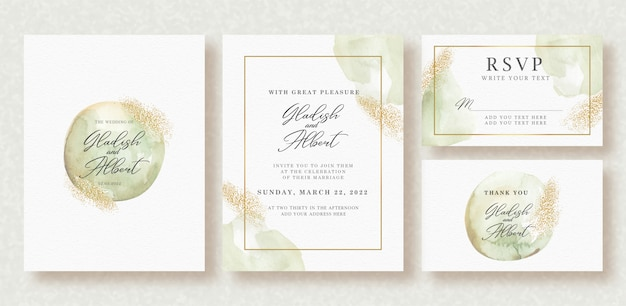 Зелень закругленная и сверкающая золотом акварель на шаблоне свадебной открытки