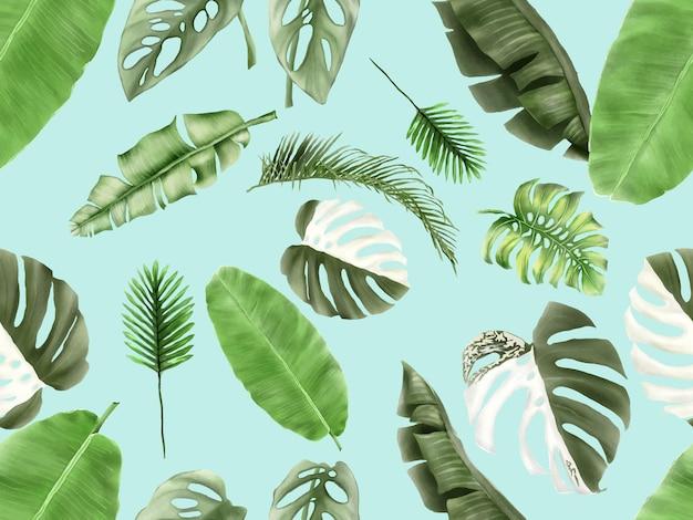 Зелень летние листья бесшовные модели Premium векторы
