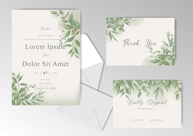 Шаблон greenery vintage свадебные приглашения