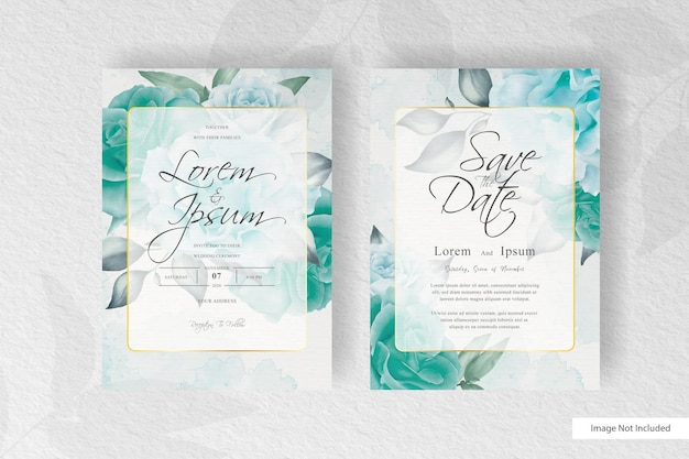 Greenery watercolor and floral arrangement wedding invitation card template