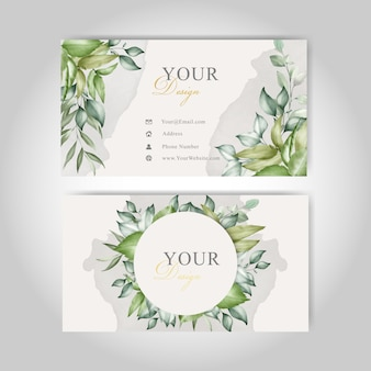 Greenery watercolor floral business cards
