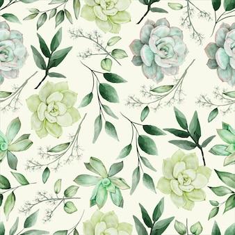 緑の水彩花のシームレスなパターンデザイン