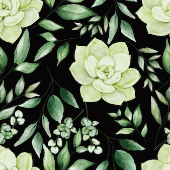 Greenery watercolor floral seamless pattern design