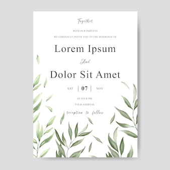 Greenery watercolor floral wedding invitation template card