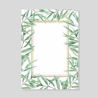 Greenery watercolor leaves gold frame, realistic olives tree branch illustration, hand painted