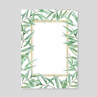 緑の水彩画の葉ゴールドフレーム、現実的なオリーブの木の枝のイラスト、手描き