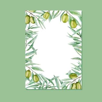 녹지 수채화 올리브 잎 프레임