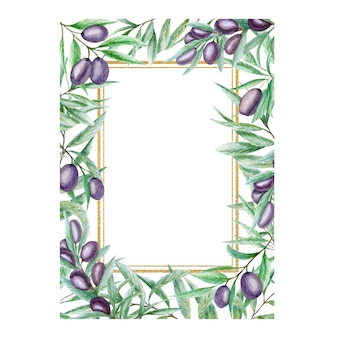 Greenery watercolor olive leaves gold frame