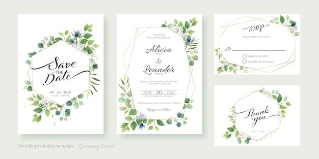 녹지 결혼식 초대 카드, 날짜를 저장, 감사 템플릿.