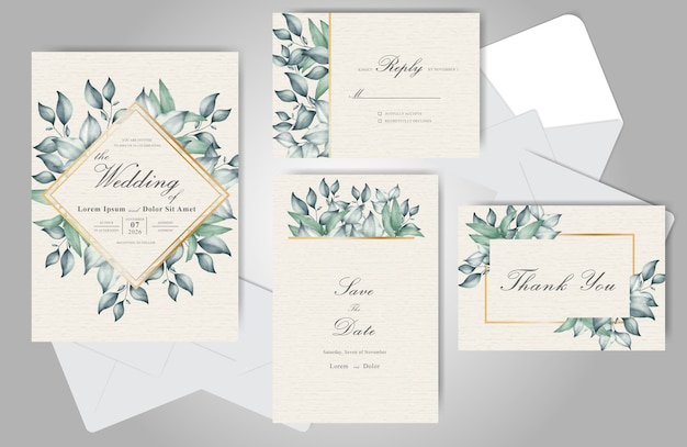 Greenery wedding invitation card set template with elegant hand drawn floral  watercolor and foliage