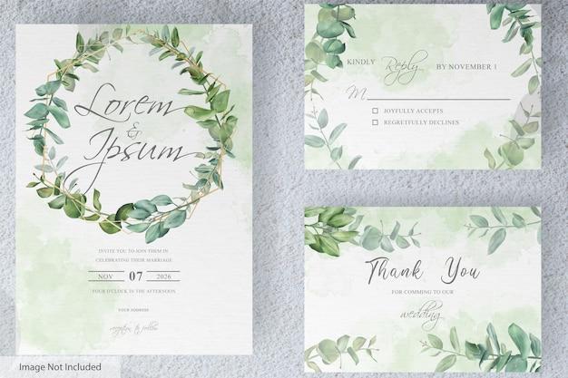 手描きのユーカリの葉と緑の結婚式の招待カードセットテンプレート