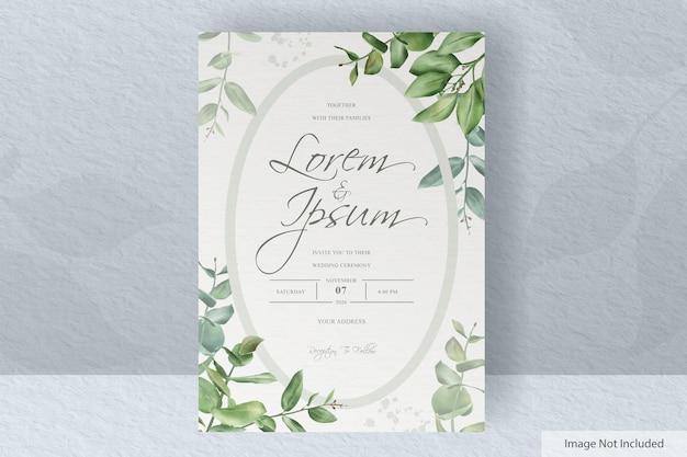 손으로 그린 유칼립투스 단풍 녹지 결혼식 초대 카드 세트 템플릿