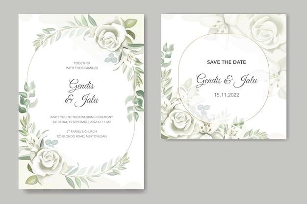 Шаблон приглашения на свадьбу из зелени с нарисованными от руки лилиями
