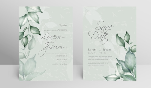 Greenery wedding invitation card set template