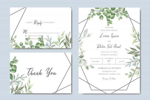 Greenery wedding invitation card set with watercolor leaves
