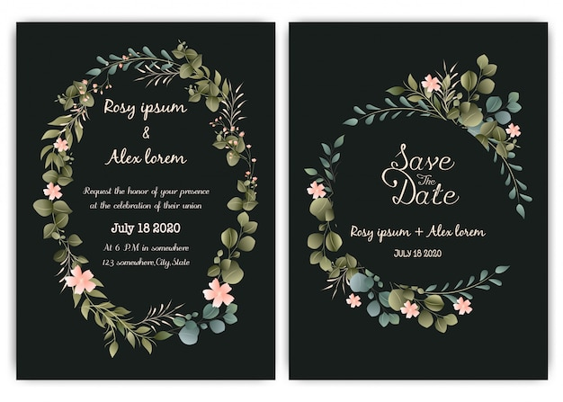 Greenery wedding invitation card template, eucalyptus