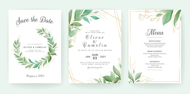 Greenery wedding invitation card template set with leaves wreath and border.