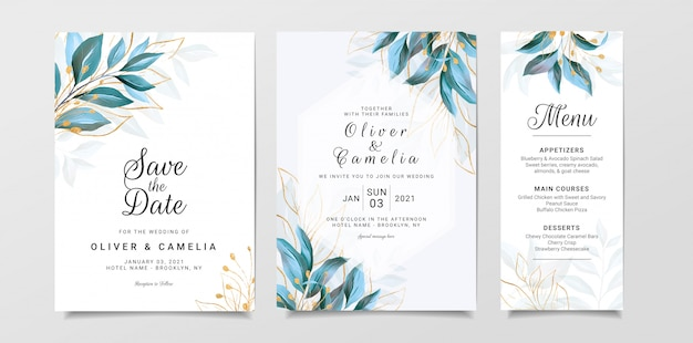 Greenery wedding invitation card template set with watercolor leaves and gold glitter