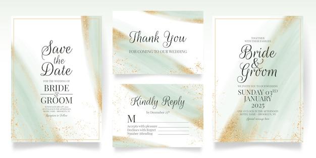 水彩画の葉ゴールドラメで設定された緑の結婚式の招待カードテンプレート