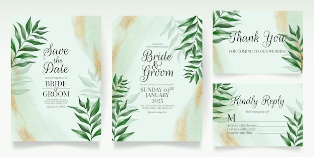 수채화로 설정 녹지 결혼식 초대 카드 템플릿 나뭇잎 골드 반짝이