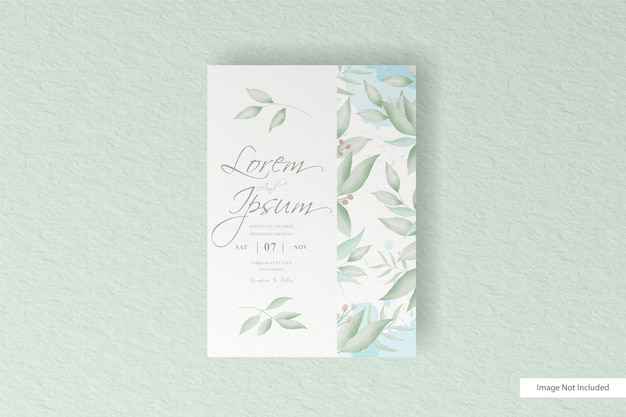 Greenery wedding invitation card template