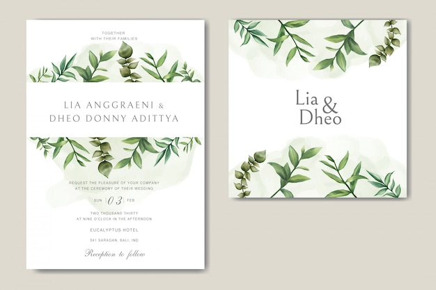 Greenery wedding invitation card with leaves bundle