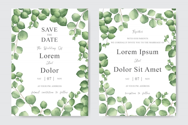 Greenery wedding invitation card with watercolor leaves
