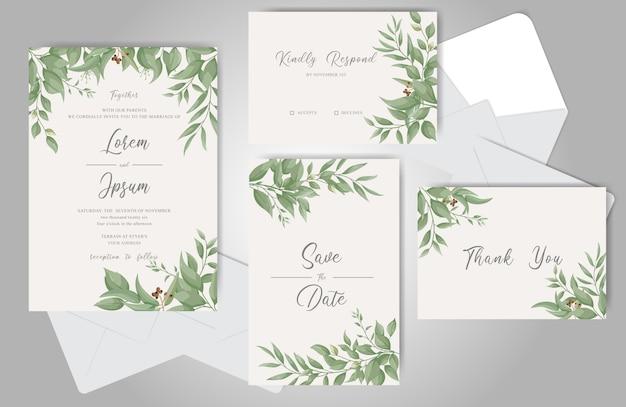 緑の結婚式の招待カードバンドルテンプレート