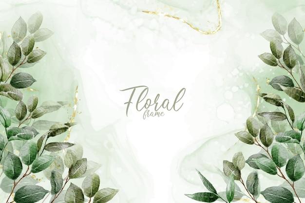 Дизайн приглашения на свадьбу из зелени с рисованной листьями и акварельным фоном
