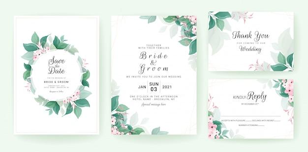 Шаблон приглашения свадьбы растительности установлен с рамкой листьев и границей с маленькими цветами.