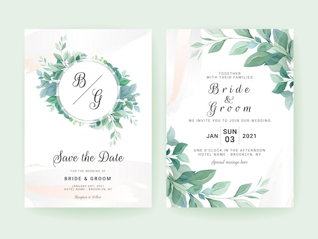Greenery wedding invitation template set with leaves frame and border watercolor